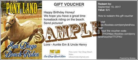 Gift certificates pony land san diego beach horseback riding we offer gift certificates in 25 50 and 100 amounts that can be used towards riding tours pony rides or time in our petting zoo yadclub Choice Image